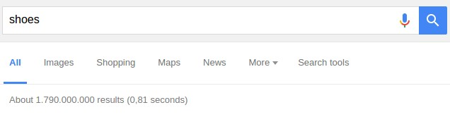 "Number of search results for ""shoes"""