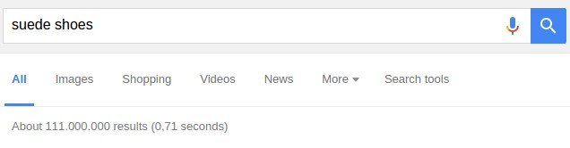 "Number of search results for ""suede shoes"""